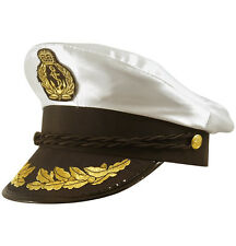 Costume Bianco Adulto yacht Boat Captain Hat Navy BERRETTO Marinaio Costume Cappello in Raso