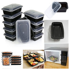 10PCS MEAL PREP PLASTIC FOOD CONTAINER MICROWAVE COMPARTMENT STORAGE LID BOX NEW