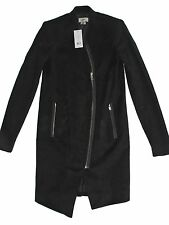 P XS Black HELMUT by Helmut Lang Black Moleskin Crombie Asymmetric Coat Jacket