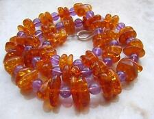FINE VINTAGE NATURAL AMBER & AMETHYST BEAD NECKLACE 31gm vintage jewellers stock