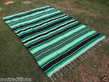 "Mexican Blanket Sarape Multi-Color Green/Black Recycle Acrylic""84x60""Made  Mex"