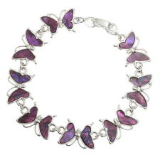 Pink Inlaid Paua Shell Butterfly Chain Silver Bracelet