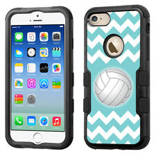 Hybrid Tough Phone Case (Blk/Black) for Apple iPhone 7 -Chevron/Volleyball
