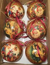 Christmas Ball Decoupage Paper Machete Santa And Caroler's Ornaments Lot of 6