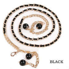 NEW Women Lady's Fashion Adjustable Pendant Pearl Simple Dress Waist Belt Decor