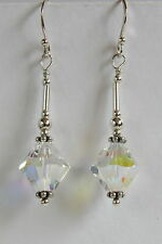 STERLING SILVER 925 EARRINGS Clear AB 10mm SWAROVSKI CRYSTAL Elements HAND MADE