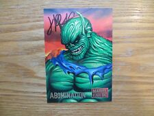 1995 FLEER/SKYBOX MARVEL VS DC ABOMINATION CARD SIGNED JIMMY PALMIOTTI,WITH POA