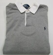 Polo by Ralph Lauren 'CUSTOM FIT' Gray Long Sleeve Polo Player Rugby Size XL