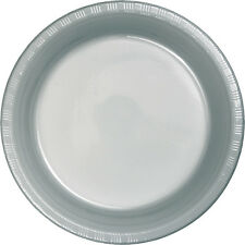 "20 Silver Wedding Birthday Party Tableware 9"" Plastic Lunch Plates"