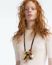 New Fashion Bohemian Style Leather Chain Resin Beads Pendant Choker Necklace