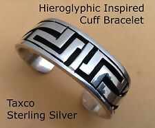 Taxco Vintage 925 Classic Cuff Bracelet Inspired by Ancient Hieroglyphics