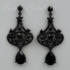 Alloy Black Jet Crystal Rhinestone Wedding Drop Dangle Earrings 08896 New