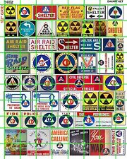 9002 DAVE'S DECALS MISC SETS HO O DECALS FALLOUT BOMB SHELTER CD COLD WAR SIGNS