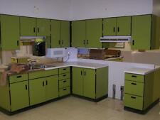 Retro 1960's early 1970's Kitchen cabinets complete set of 11 Green