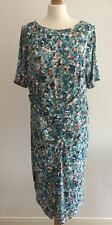 NEW LADIES M&S LOVELY BLUE MIX JERSEY DRESS W STRETCH SIZE 18 LONG EUR 46L