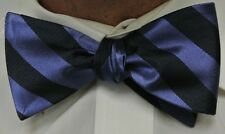 "NEW! Hand Made.100% Silk SLATE BLUE REVERSIBLE Stripes SELFTIE Bow Tie.2.5""wide."