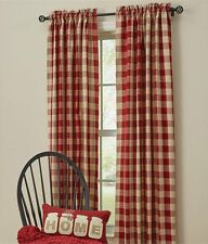 """RED TAN CHECK PANEL SET : 84"""" x 72"""" COUNTRY PLAID WINDOW CURTAIN DRAPE WICKLOW"""