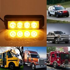 High Power 4 LED 4W Car Grille Strobe Warning Hazard Emergency Flash Light-Amber