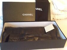 $1750 CHANEL ASCOT CC Logo Black Leather Equestrian Riding Boots EU 38.5