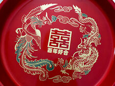 CHINESE JAPANESE XL RED DRAGON PHOENIX SERVING TRAY JAPANESE SUSHI PLATE PARTY