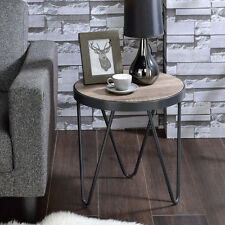 Bage Industrial Round End Side Table Wooden Top Metal Trim V Leg Weathered Gray