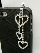 MD3000- 70mm Crystal 3-HEART Charm Anti Dust Plug Ear Cap Mobile Cell phone