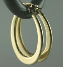 "Italian Solid 14K Yellow Gold Oval Hoop Earrings GORGEOUS 1"" BIG 1.45 grams NICE"