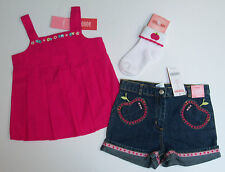 NWT Gymboree Candy Apple 3 3T Fuchsia Pleated Flower Top Denim Shorts & Socks