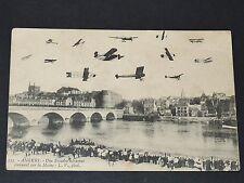 CPA 1914 AVIATION RONDE AERIENNE SUR LA MAINE ANGERS AVIONS MAINE & LOIRE 49
