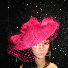 LADIES FUCHSIA PINK ASCOT WEDDING HAT DISC FASCINATOR RACES MOTHER OF THE BRIDE