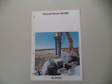 - CATALOGO DEPLIANT BROCHURE HYDRAULIC HAMMER HM 2000 KRUPP - ANNI '90