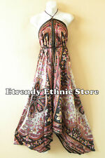 2D98 - Multicolor Floral Silk Multi Wear Scarf Long Maxi Dress, Skirt, Maternity