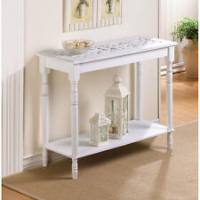 "NEW 29"" FURNITURE Colonial Carved Top White Wood HALL SOFA ACCENT CONSOLE TABLE"