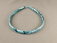 "Aqua White Black snake skin lizard print satin thin skinny headband 3/8"" wide"