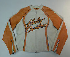 HARLEY DAVIDSON SEXY DREAM CYCLE CREAM ORANGE LEATHER JACKET WOMENS XL X LG  242