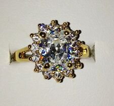 Large Sapphire Simulate 10Ct Yellow Gold Filled Vintage Style Ring - Size R