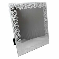Free Standing 21.5 x 26cm MIRROR with Lace Pattern