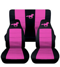 1994-2004 Ford Mustang Coupe Front & Rear Black and Hot Pink Horse Seat Covers