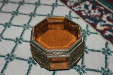 Antique Victorian Ormolu 8 Sided Trinket Box-Tinted Beveled Glass-Ornate Details