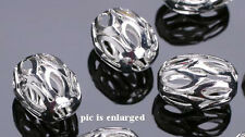 18 Exquisite Silver Plated Filigree Oval Beads 8MM