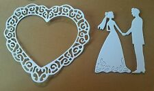 5 x Filigree Hearts  & 5 X Bride and Groom white Card Toppers. Card Making Craft