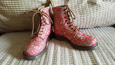 rare Dr. MARTENS size 4 red CANVAS ankle PAGE punk hippy festival