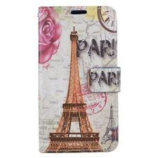 For LG K7 / Tribute 5 - Leather Card Wallet Holder Pouch Case Paris Eiffel Tower