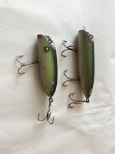 TWO South Bend BASS ORENO Wood Lure in GREEN SCALE FINISH !!