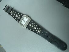 """Bongo Authentic black studded leather watch 8"""" adjustable 32mm case new battery"""