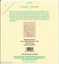 LABEL - Wedding Hearts - 100 Booklets = 2,000 STAMPS  LABEL, ITEM #677600 - USED