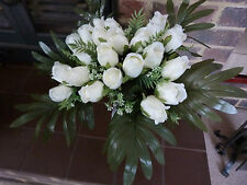 LARGE ARRANGEMENT / BOUQUET OF IVORY FAUX SILK ROSE BUDS READY FOR VASE