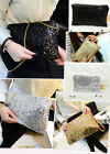 women large sparkling tinsel sequin chain clutch evening party cross body bag uk