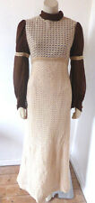 Vintage 1960s 60s 70s Hippy Boho Crochet Maxi Dress Size 8