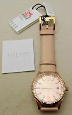 NEW Watch ELLE Pink Leather Band Pink Face Date Analog Quartz Beautiful Ladies
